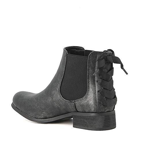 Simili Noir En Cuir Boots Chelsea Misstic qtOPn