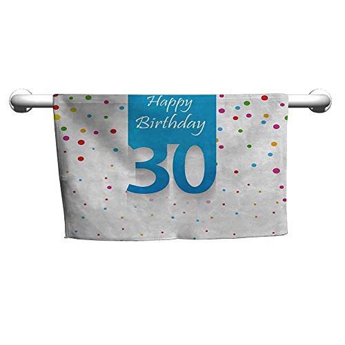 duommhome 30th Birthday Soft Superfine Fiber Bath Towel Stylized Banner with Hand Writing Calligraphy and Confetti Like Polka Dots W14 x L14 Multicolor for $<!--$9.00-->
