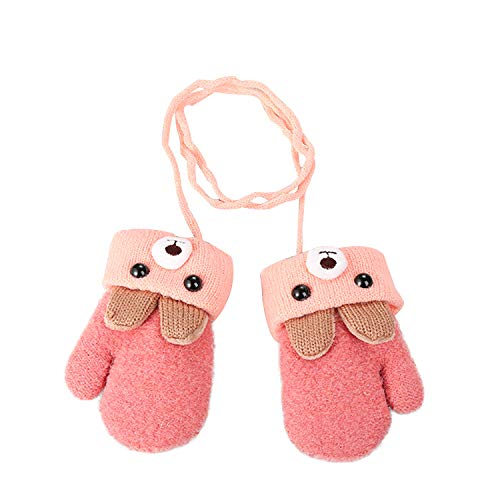 Toddler Child Winter Knitted Magic Gloves Kids Baby Cute Cartoon Bear Wool Warm Thick Fleece Lined Outdoor Snow Ski Thermal Gloves with String Cable Mitten Handwarmer Xmas Gift for Boys ()
