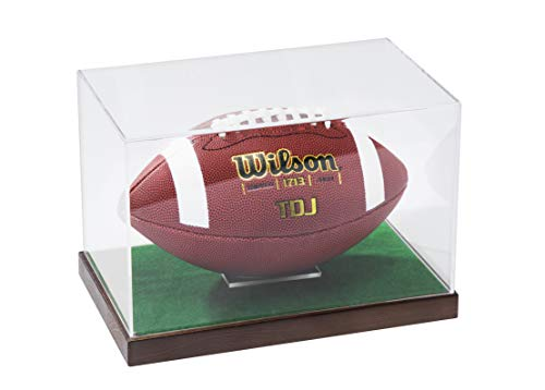 JackCubeDesign Wood Junior Football Display Case Sports Showcase Storage Box Holder Organizer with Grass Stand and Clear Acrylic Cover(Black, 11.5 x 7 x 8 inches) - :MK195D