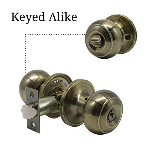 Keyed Alike Door Knobs 4 Pack,Front Entry Handle,Exterior Door Knobs Antique Brass,Flat Ball Door Knobs with Lock in Polished Bronze,Antique Bronze Entrance Lock Set Hardware Combo
