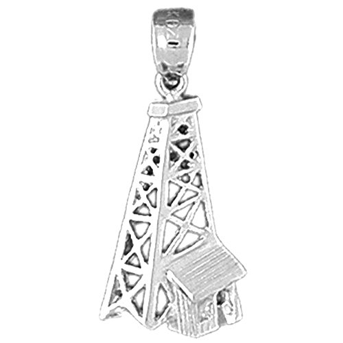 Jewels Obsession Oil Well, Oil Rig Pendant | Sterling Silver 925 Oil Well, Oil Rig Pendant - 27 mm ()