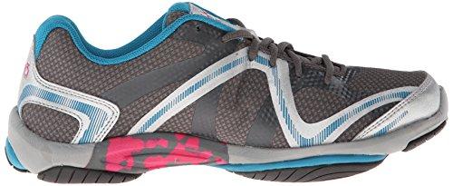 RYKA Frauen Einfluss Cross Training Schuh Stahl Grau / Chrom Silber / Taucherblau / Zuma Pink