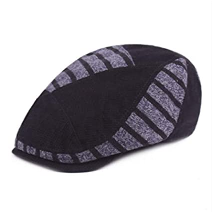 Amazon.com: LooBooShop Striped Winter Knitted Berets for Women Men Patchwork Warm Winter Visor Cap Casual Vintage Peaked Hat Gorras Retro Newsboy Bone: ...