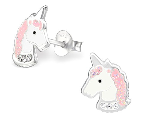 Hypoallergenic Sterling Silver Pink Glitter Crystal Unicorn Stud Earrings for Little Girls (Nickel Free)