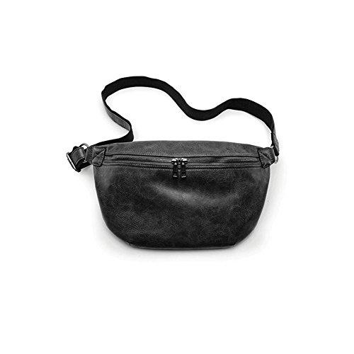 AIURBAG Sling Bag Uomo, Pu Pelle Petto Spalla Messenger Cross Body Bag,Brown black