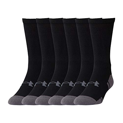(Under Armour U292M Resistor 3.0 Crew Athletic Socks (6 Pack), Black/Graphite, Large)