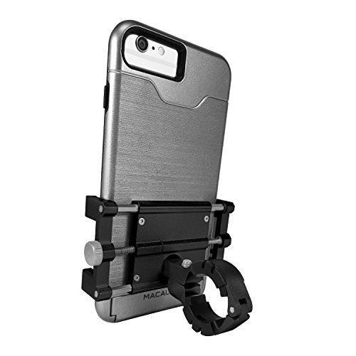Macally BIKEMOUNT-S - Supporto portacellulare per biciclette in alluminio per iPhone/ smartphone, Nero