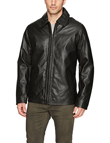(Excelled Men's Lambskin Leather Shirt Collar Jacket, Black, Small)