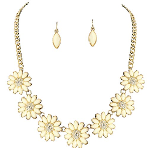 Mob Wife Costume Accessories - Rosemarie Collections Women's Darling Daisy Flower Statement Necklace Fashion Jewelry Set