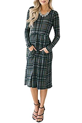 Chuanqi Womens Plaid Dress Casual Long Sleeve Round Neck A-Line Midi T Shirt Dresses with Pockets