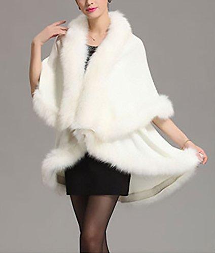 Irregolare Per Da Calda Donna Vintage Cardigan Lunga Moda Scialle Outerwear Elegante Classica Cappotto Mantelle Festa Lungo Bianco Party Manica Sera Inverno TqnqYwA
