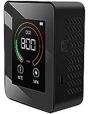 Exanko Air Monitor CO2 kooldioxidedetector luchtkwaliteit temperatuur vochtigheid monitor snelle meting meter voor CO2, zwart