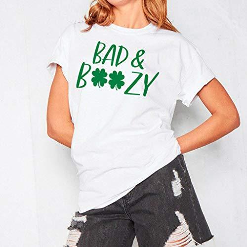 T Day shirt St Leaf Corta Donna Camicetta Bianca Green Patricks Amlaiworld Stampa Camicia 8EUc51Hqn