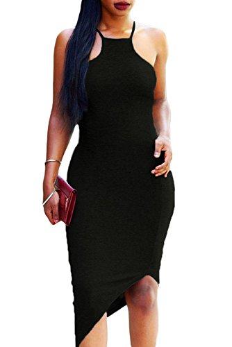 Negro oblicua dobladillo Spaghetti Strap Bodycon Vestido Club Wear TAMAÑO UK/M 10–�?2