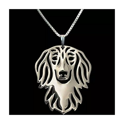 Long Haired Dachshund Necklace Silver-Tone