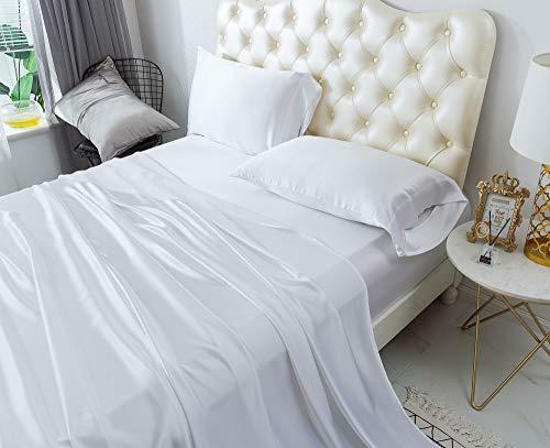 ZIMASILK 4 Pcs 100% Mulberry Silk Bed Sheet Set,All Side 19 Momme Silk (King, White)