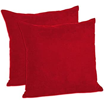 MoonRest Faux Suede 18-Inch-by-18-Inch Pillow Cover, Dark Red (Set of 2)