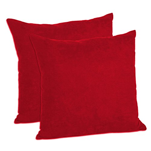 MoonRest Faux Suede 18-Inch-by-18-Inch Pillow Cover, Dark Red (Set of 2) ()