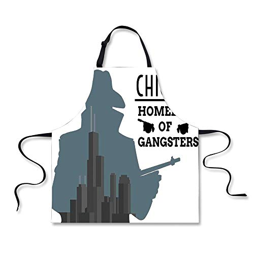 iPrint BBQ Apron,Vintage Decor,Double Exposure of Gangster with on Chicago Skyscrapers Homeland of Mafia,Grey Black, Apron.29.5