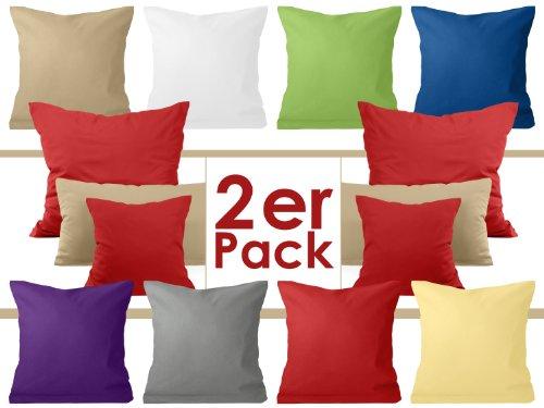 Doppelpack zum Sparpreis - Baumwoll-Kissenbezüge - moderne Wohndekoration in schlichtem Design - 8 modernen Uni-Farben und 3 Größen, 40 x 40 cm, rot