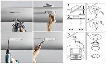 KingLed - Aplique de pared en Yeso Cerámico para falsos techos de Pladur modelo Redondo, de Empotrar para falso techo, para focos LED GU10 Cód.0627: Amazon.es: Iluminación