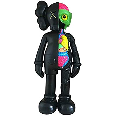 "16"" KAWS Action Figure, KAWS Sculpture Home Decoration Cartoon Fiberglass KAWS Statues Decoration Ornaments Crafts Doll Model Art Toys Collectible Model Boy Toy (16"" Dissected Black): Garden & Outdoor"