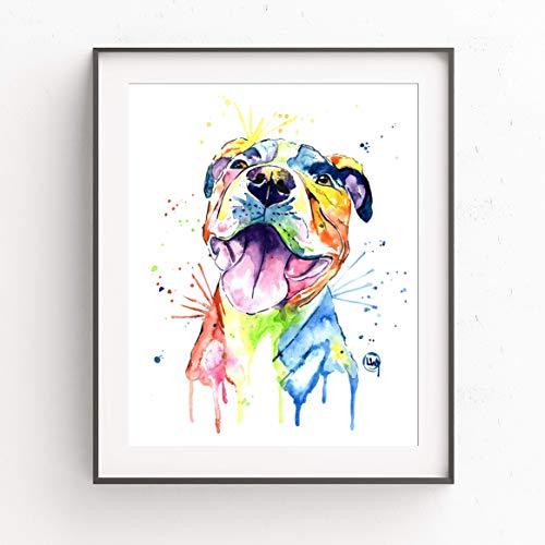 Print Cotton Dog Collar - Pitbull Wall Art by Whitehouse Art | Pitbull Painting, Dog Wall Art, Dog Picture | Professional Print of Smiling Pitbull Original Watercolor | American Pitbull Gifts | 6 Sizes