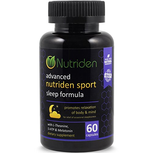 Nutriden Advanced Sleep Aid Supplement - Natural Melatonin & L-Theanine | Promotes Mind & Body Relaxation | FDA Facility GMP Made in USA (60 Capsules)