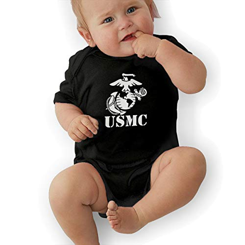 (Eagle Globe Anchor USMC Marine Corps Baby Boys Girls Short Sleeve Bodysuits Rompers Outfits 0-48 Months)
