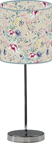 LampPix 10 Inch Custom Printed Table Desk Lamp Shade Vintage Japanese Floral Beige. Includes Decorative Chrome 15 Inch Stand