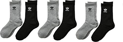adidas Boys / Youth Originals Trefoil Crew Socks (6-Pack), Heather Grey/Black/White, Medium