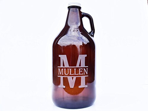(Personalized Amber Beer Growler, 64 oz)