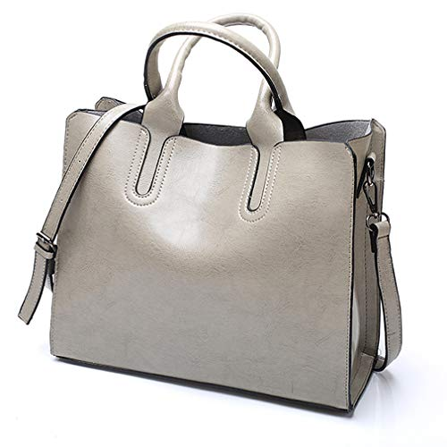 Pahajim Women Top Handle Satchel fashion handbags for women Tote Purse (Grey)