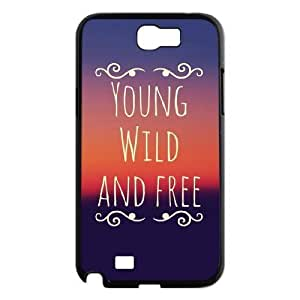 Custom Hard Plastic Back For Case Samsung Note 3 Cover with Unique Design Young, wild & free