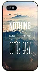 """iPhone 6 (4.7"""") Nothing worth having comes easy - black plastic case / Life, dreamer's inspirational and motivational quotes"""