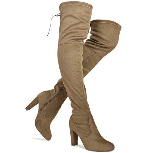 Premier Standard - Women's Over The Knee Boot - Sexy Over The Knee Pullon Boot - Trendy Low Block Heel Shoe - Comfortable Easy Heel Boot, TPS Amaya-01 Taupe Size 7.5