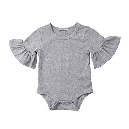 Infant Baby Girl Basic Bell Short Sleeve Cotton Romper Bodysuit Tops Clothes (Grey, 3-9 Months) ()