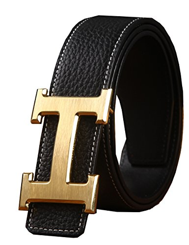 Mens Geniune Leather Belt Slide Metal Buckle Adjustable Waistband 35MM