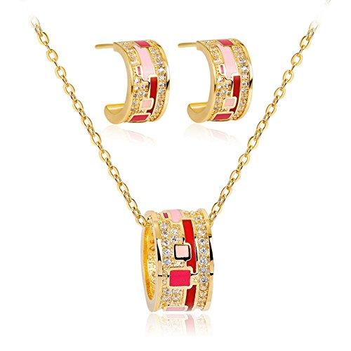 bromrefulgenc Earrings for Women,Retro Irregular Zircon Enamel Pendant Necklace Earrings Party Women Jewelry - 10k Earrings Zircon