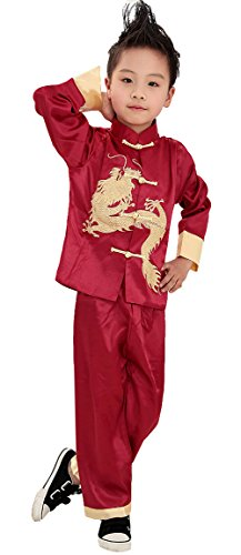 AvaCostume Traditional Chinese Boy Dragon Kung Fu Outfit Tang Costume, Red, 6