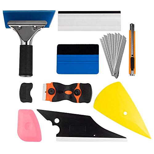 Window Tint Application Tools 1 set,9 PCS Window Tint Tools for Vehicle Film Including Window Squeegee,Scraper, Utility Knife and Blades