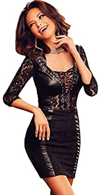 YeeATZ Black Lace Leather Splice Lace-up V Neck Party Dress