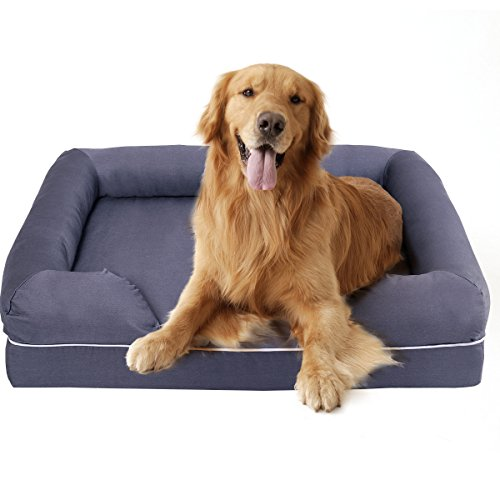 Cheap Giantex Pet Dog Bed Solid Lounge Sofa Bed Comfortable Cat Dog Sleeping Home Snuggle Pet Bed Waterproof for Indoor Use with Memory Foam, Gray (L)