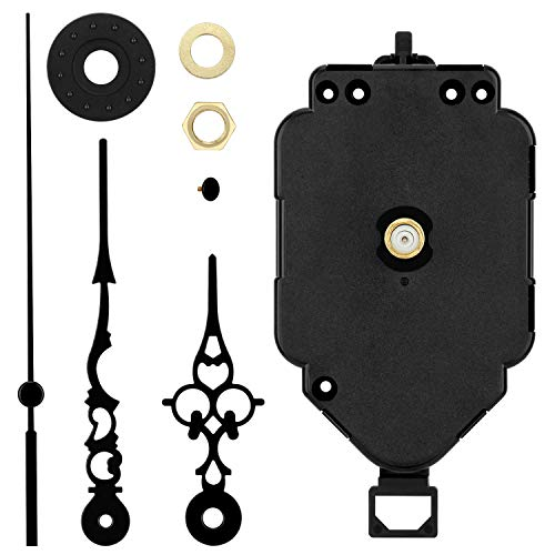 Blisstime Pendulum Clock Movement Mechanism Replacement, DIY Clock Motor Kits with Hands - 1/2 Inch Maximum Dial Thickness, 9/10 Inch Total Shaft Length