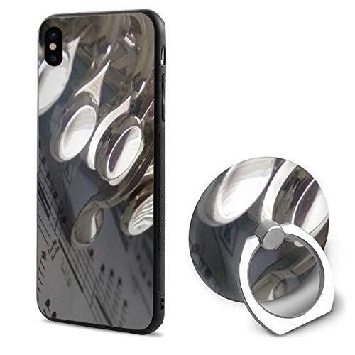 Apple iPhone Xs Case(2018) / iPhone X Case(2017) + Finger Ring Stand Holder 360 Degree Rotating Combo Set - Flute Music