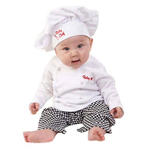 [EKIMI Baby Boys Chef T-Shirt Tops+Pants Cap Kids Clothes Set (18M)] (Chef Costumes For Kids)