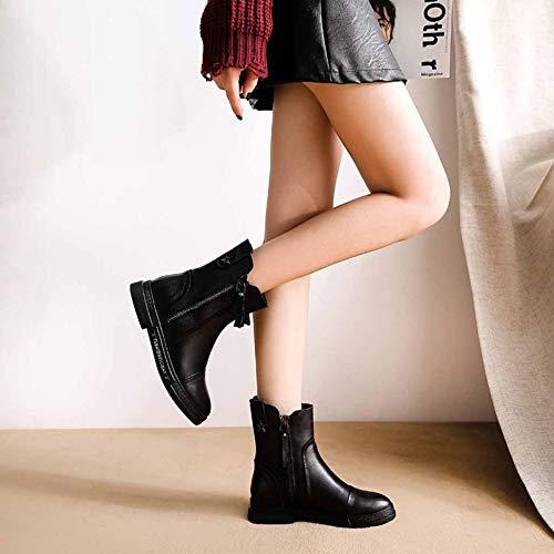 Botas Cómodo Invierno Mujer Zip De Para Black Cuero Al Otoño Antideslizante Zapatos Deportes Aire Botines Cortas Martin Casual Libre qTwTId0A
