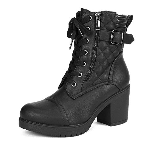 (DREAM PAIRS Women's Parka Black Chunky High Heel Boots Size 8 B(M))