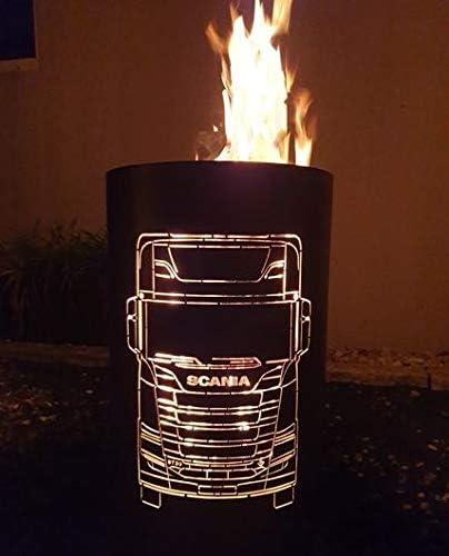 Tiko-Metalldesign Scania - Recipiente para Fuego, diseño de camión: Amazon.es: Jardín